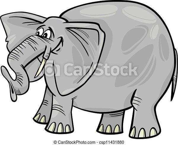 caricatura, ilustração, elefante - csp11431880