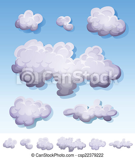 caricatura, jogo, nuvens, fumaça, nevoeiro - csp22379222