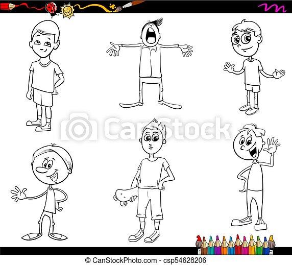 Caricatura, libro colorear, caracteres, niños. Colorido, conjunto ...