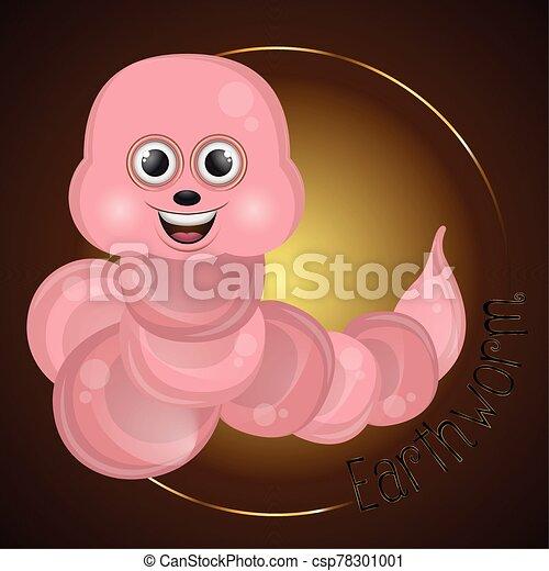 caricatura, lindo, gusano, feliz - csp78301001