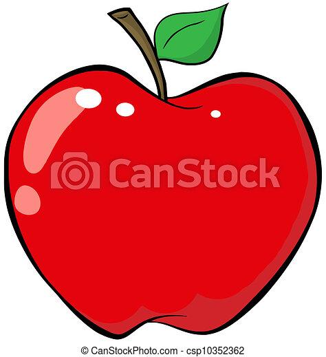 caricatura, manzana roja - csp10352362
