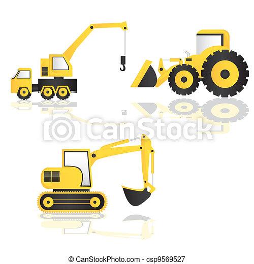 caricatura, maquinaria construção - csp9569527