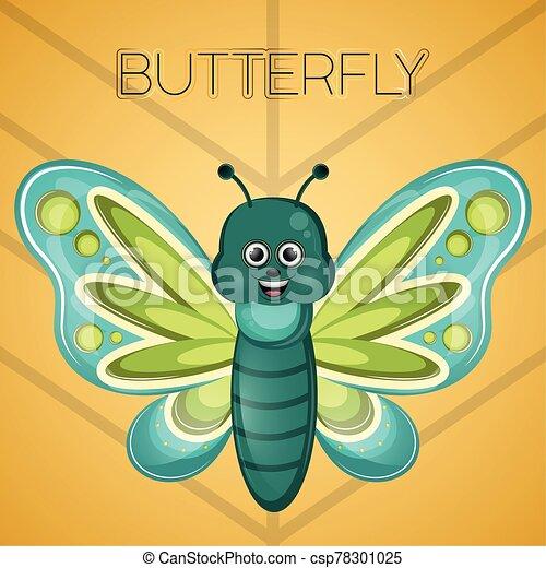 caricatura, mariposa, lindo, feliz - csp78301025