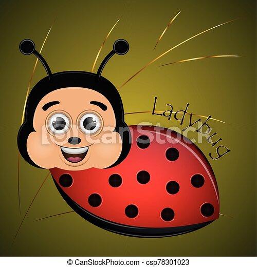 caricatura, mariquita, lindo, feliz - csp78301023
