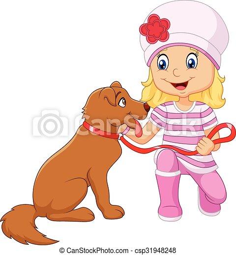 Una chica de dibujos con su perro aislado - csp31948248