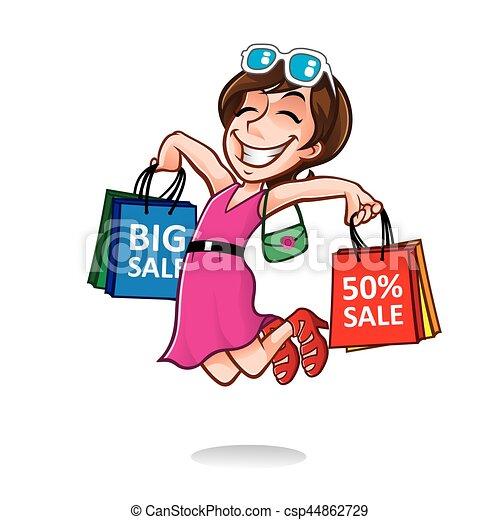 Chica compradora feliz - csp44862729