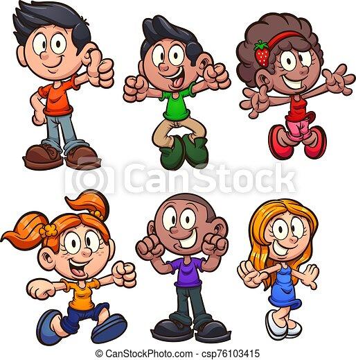 caricatura, niños - csp76103415