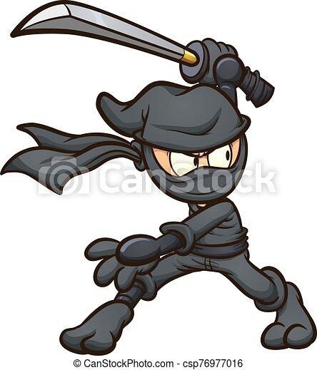 caricatura, ninja - csp76977016