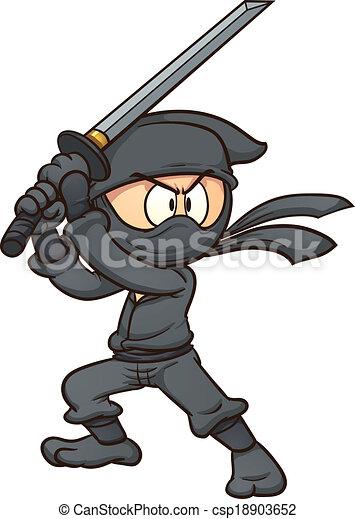 Ninja de dibujos animados - csp18903652
