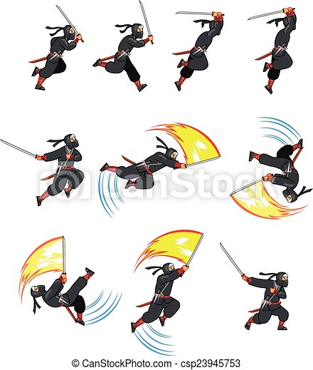 Ninja de dibujos animados - csp23945753