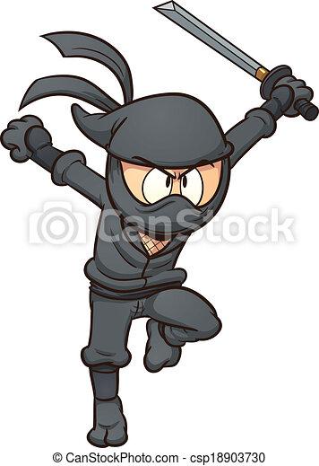 Ninja de dibujos animados - csp18903730