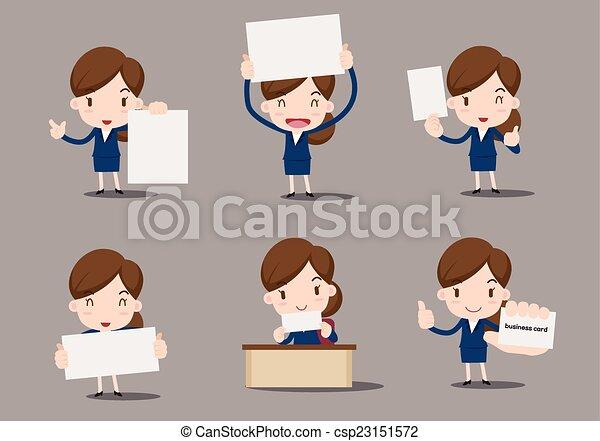 Ilustracin vectorial de caricatura papel empresarias blanco