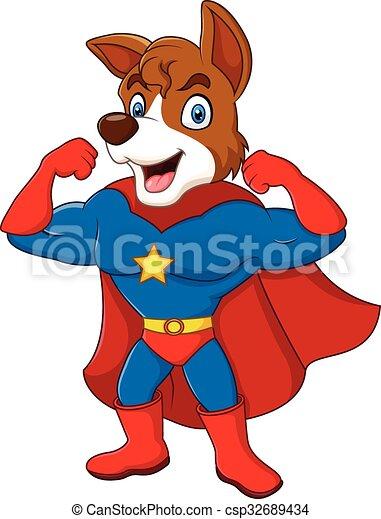 Perro superhéroe de dibujos animados posando - csp32689434