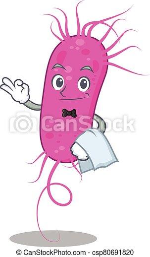 caricatura, personagem, bactérias, trabalhando, garçom, restaurante, pseudomoa - csp80691820