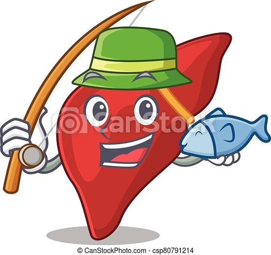 caricatura, pesca, enquanto, fígado, conceito, desenho, saudável, human - csp80791214