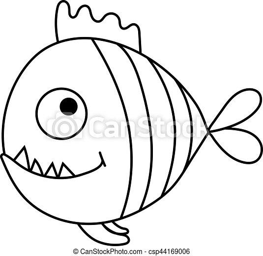 Caricatura, piraña. Lindo, vector, caricatura, ilustración, piranha.