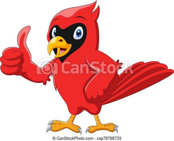 caricatura, pulgar, cardinal, lindo, pájaro, hermoso - csp78768733