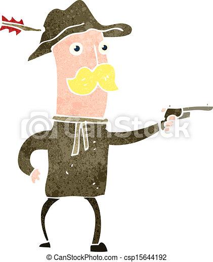Vaquero de dibujos animados con pistola - csp15644192