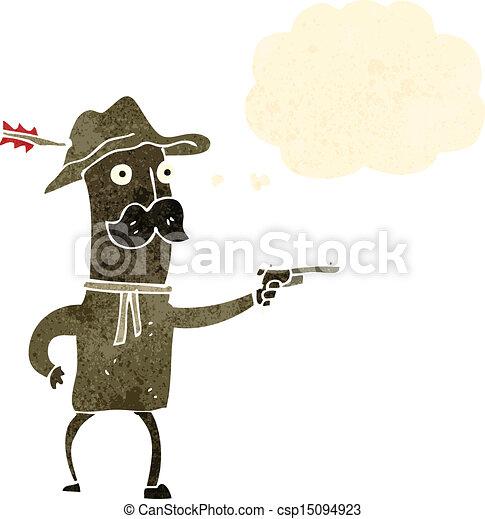 Vaquero de dibujos animados con pistola - csp15094923