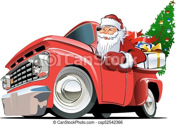 caricatura, retro, natal, pickup - csp52542366