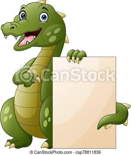caricatura, tenencia, muestra en blanco, plano de fondo, cocodrilo, blanco - csp78811836