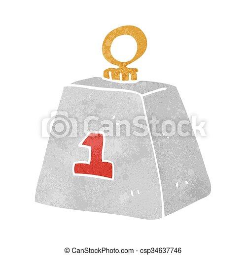 Retro caricatura de una tonelada de peso - csp34637746