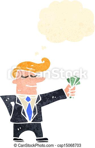 El hombre de los dibujos animados en traje con efectivo - csp15068703