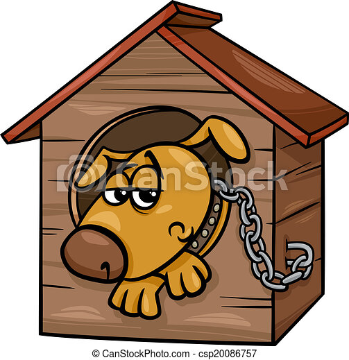 Perro triste en dibujos animados de perrera - csp20086757