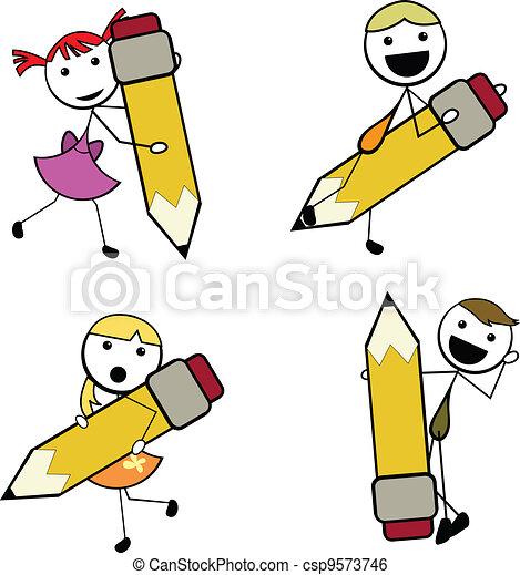 caricatura, vara, lápis, crianças - csp9573746