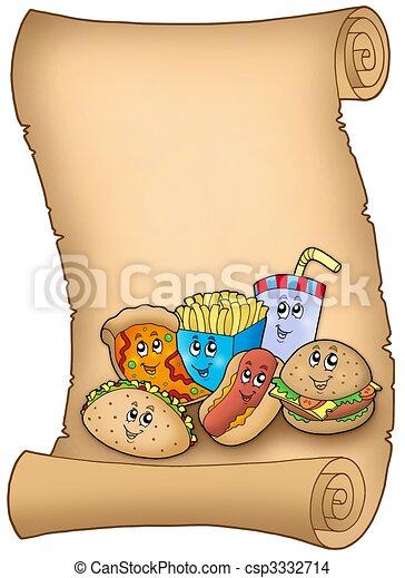 caricatura, vario, comidas, pergamino - csp3332714