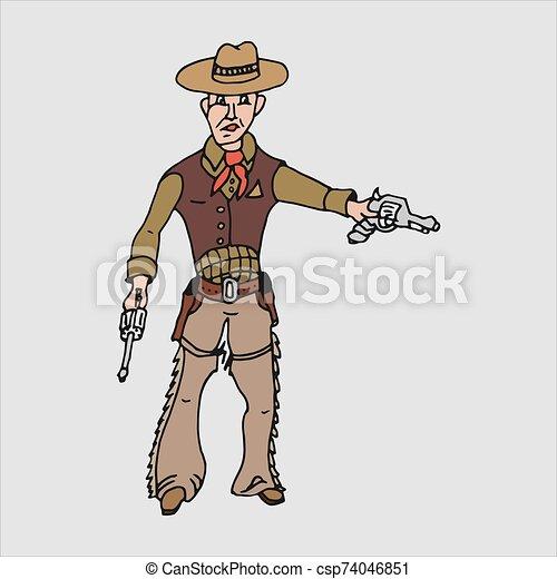 caricatura, vector, vaquero, freehand, dibujo - csp74046851