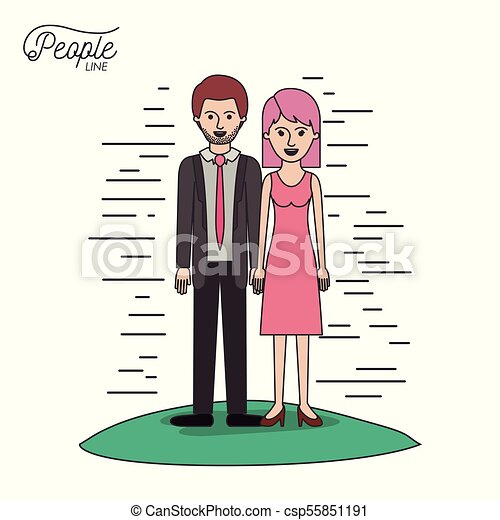 caricature couple people line bearded man in formal suit and woman with straight short hair in dress standing in grass on white background - csp55851191