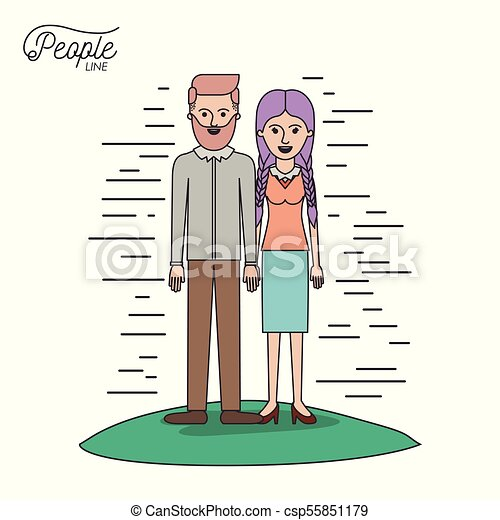 caricature couple people line bearded man and woman with braided pigtails hair standing casual clothes in grass on white background - csp55851179