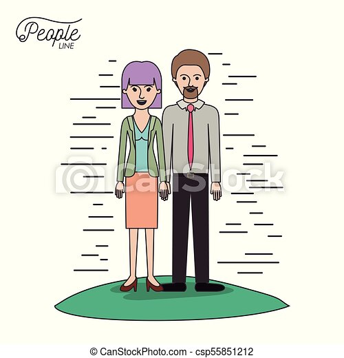caricature couple people line bearded man and woman with straight short hair standing formal clothes in grass on white background - csp55851212