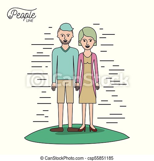 caricature couple people line casual clothes guy modern hairstyle and woman with straight hairstyle standing with dress in grass on white background - csp55851185