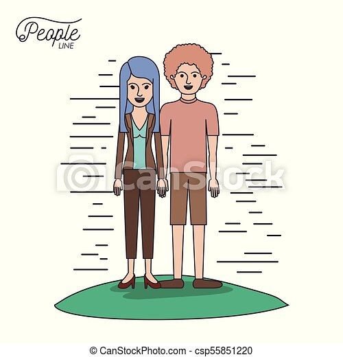 caricature couple people line casual clothes guy curly hair and woman with straight hairstyle standing in formal suit in grass on white background - csp55851220