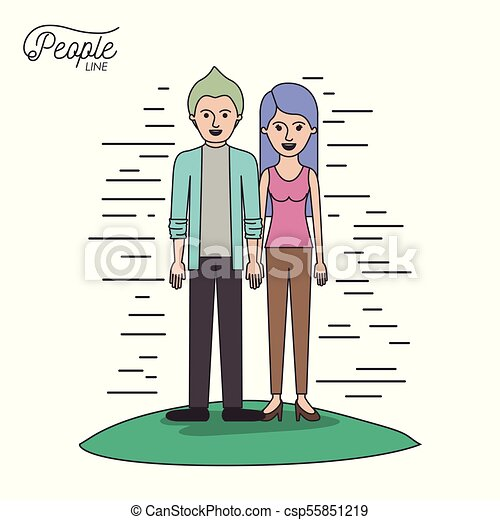 caricature couple people line casual clothes guy modern hairstyle and woman with straight long hairstyle standing in grass on white background - csp55851219