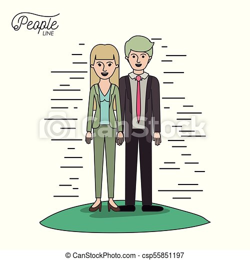 caricature couple people line man and woman with straight hair standing formal clothes in grass on white background - csp55851197