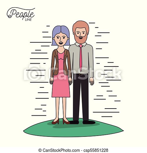 caricature couple people line woman in dress with straight short hair and bearded man standing formal clothes in grass on white background - csp55851228