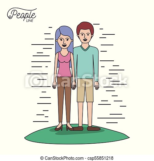 caricature couple people line woman in blouse and pants with side long hair and man standing casual clothes in grass on white background - csp55851218