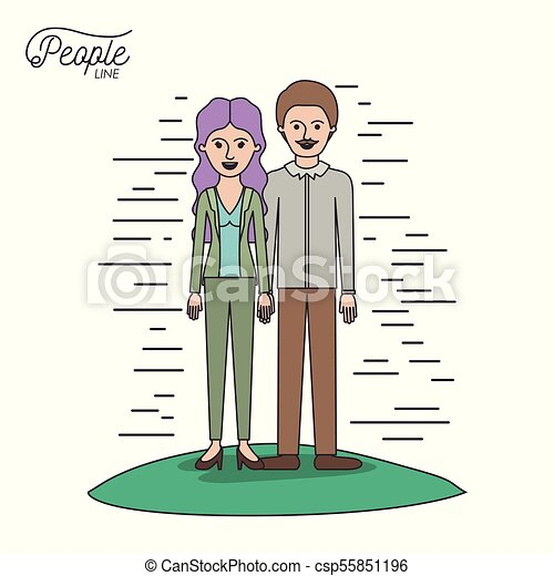 caricature couple people line woman with wavy long hair standing formal clothes and man with moustache in grass on white background - csp55851196