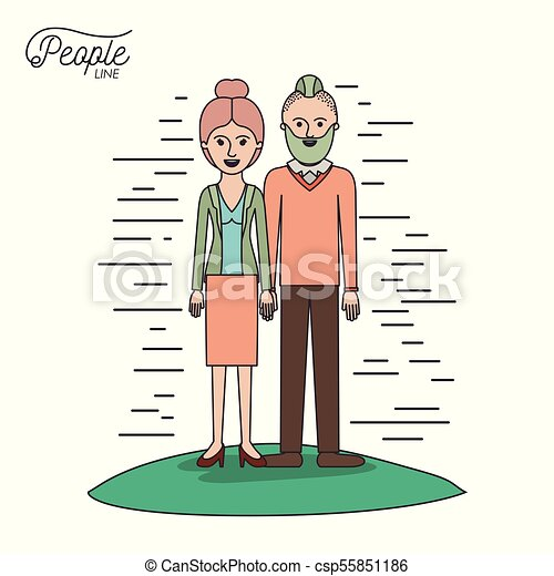caricature couple people line woman with collected hair in skirt and man with modern hairstyle standing casual clothes in grass on white background - csp55851186