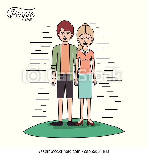 caricature couple people line young man and blonded woman with ponytail hair standing casual clothes in grass on white background - csp55851180