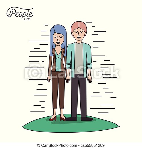 caricature couple people line young man and woman with straight long hair in casual wear standing in grass on white background - csp55851209