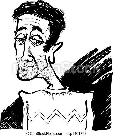 Caricature Homme caricature of a young man. cartoon sketch caricature illustration of