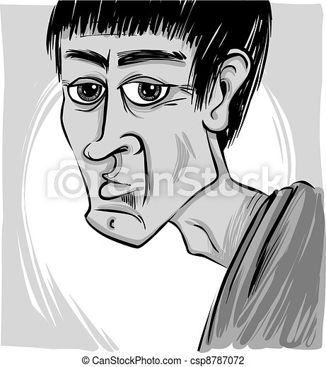 Caricature Homme caricature of man. sketch caricature illustration of young man face.