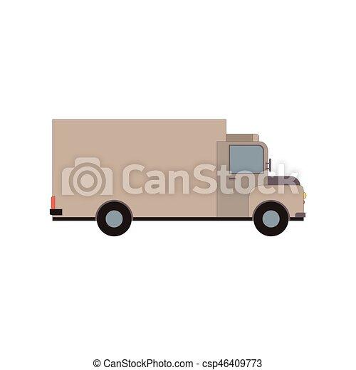 carico, commerciale, isolato, illustrazione, consegna, vettore, camion, white., furgone - csp46409773