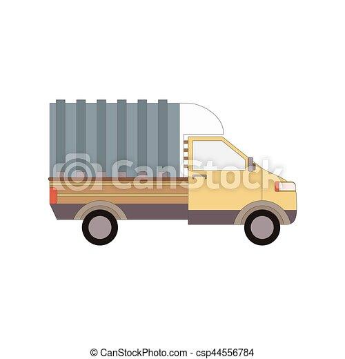 carico, commerciale, isolato, illustrazione, consegna, vettore, camion, white., furgone - csp44556784