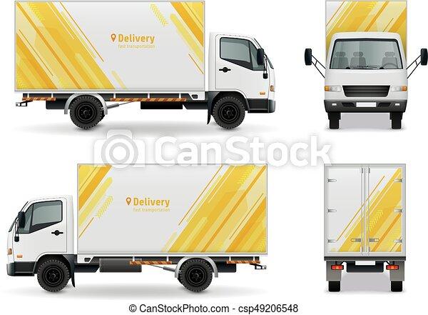 carico, mockup, realistico, disegno, pubblicità, veicolo - csp49206548