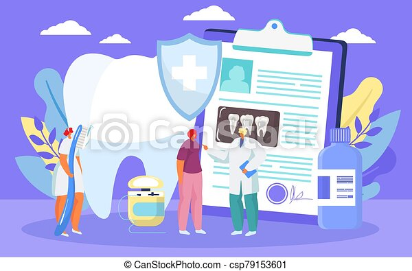 caries, dentista, sano, illustration., médico, caricatura, vector, tratamiento, diente, dental, prosedure - csp79153601